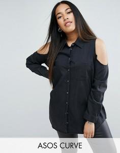 Черная джинсовая рубашка с вырезами на плечах ASOS CURVE - Черный