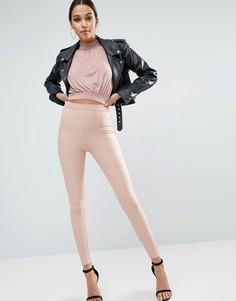 Эластичные леггинсы в рубчик с отделочными швами ASOS Premium - Розовый