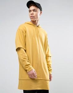 Длинное oversize-худи с двухслойной отделкой ASOS - Желтый