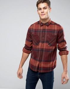 Клетчатая рубашка навыпуск с добавлением шерсти ASOS - Красный