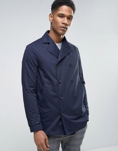 Двубортное пальто-бушлат на вощеной подкладке Sisley - Темно-синий