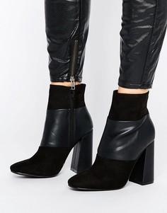 Ботильоны на высоком каблуке со вставками из искусственной замши New Look - Черный