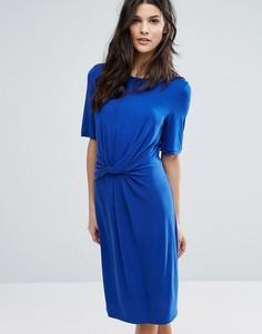 Трикотажное платье с узелком Selected Femme - Синий