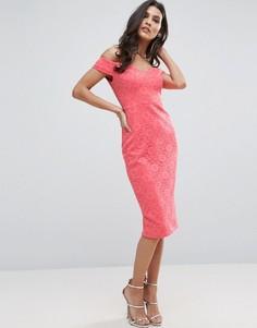 Облегающее кружевное платье миди ASOS - Розовый