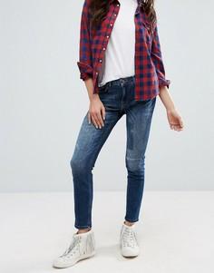 Темные свободные джинсы с рваной отделкой Only - Синий