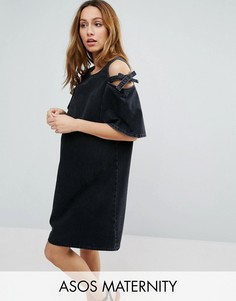 Джинсовое цельнокройное платье с открытыми плечами и бантами ASOS MATERNITY - Черный
