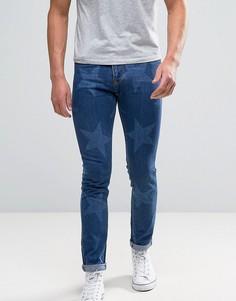 Укороченные джинсы со звездами Brooklyn Supply Co - Синий