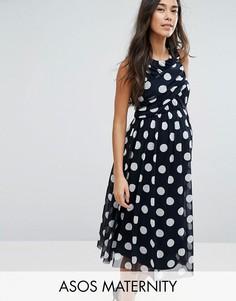 Сетчатое платье миди в горошек ASOS Maternity - Темно-синий