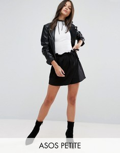 Юбка-шорты с запахом и поясом ASOS PETITE - Черный