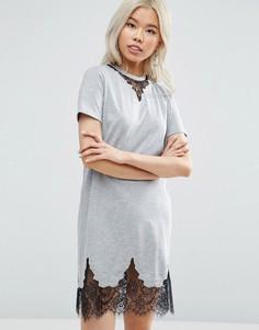 Платье-футболка с кружевными вставками ASOS - Серый