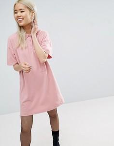 Цельнокройное короткое платье-поло из ткани пике ASOS - Розовый