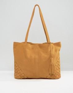 Замшевая сумка‑шоппер с плетеными уголками ASOS - Рыжий