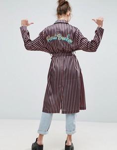Пальто в полоску с вышивкой Heartbreaker ASOS - Мульти