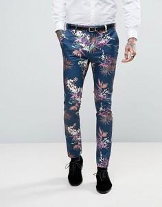 Синие атласные брюки скинни с цветочным принтом ASOS - Темно-синий