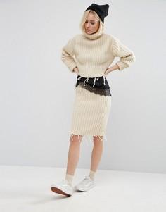 Юбка от костюма с завышенной талией и необработанным краем STYLENANDA - Бежевый