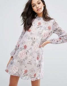 Платье мини с рюшами и принтом Miss Selfridge - Мульти