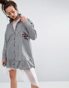 Платье-рубашка в клеточку с нашивкой The Ragged Priest - Черный