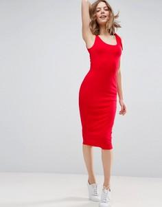Платье миди в рубчик с завязками на плечах ASOS - Красный