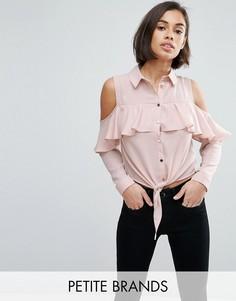 Рубашка из ткани добби с открытыми плечами и оборкой Miss Selfridge Petite - Розовый