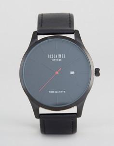 Лаконичные часы с черным кожаным ремешком Reclaimed Vintage - Черный