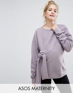 Фактурный свитшот с узлом ASOS Maternity - Фиолетовый
