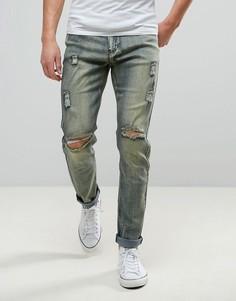 Рваные узкие джинсы с грязным эффектом Liquor & Poker - Синий