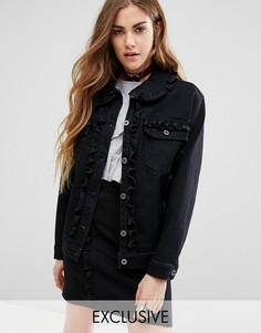 Комбинируемая джинсовая куртка с оборками Reclaimed Vintage - Черный