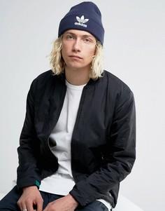 Темно-синяя шапка-бини с трилистником adidas Originals BK7639 - Темно-синий