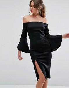 Платье-футляр с вырезом лодочкой и разрезами на рукавах New Look - Черный