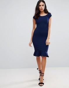 Платье миди с баской Jessica Wright - Темно-синий