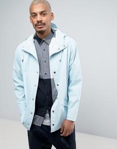Голубая короткая непромокаемая куртка с капюшоном Rains - Синий