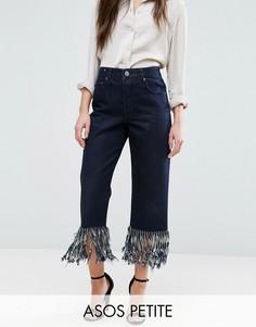 Прямые джинсы с бахромой по низу ASOS PETITE Authentic - Черный