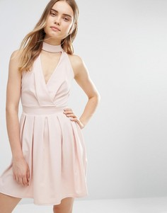 Короткое приталенное платье с отделкой горловины Wal G - Розовый