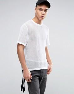 Сетчатая футболка с ремешками по бокам ASOS - Белый