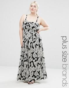 Платье макси с абстрактным принтом Lovedrobe Plus - Черный