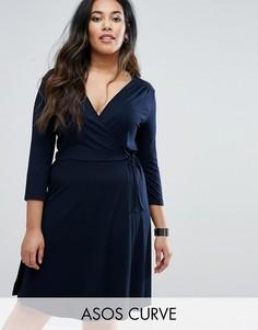 Чайное платье миди с запахом и рукавом 3/4 ASOS CURVE - Темно-синий