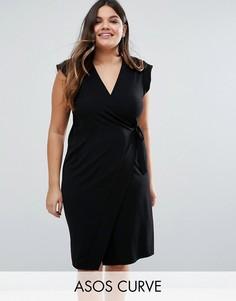 Офисное платье-футляр с запахом ASOS CURVE - Черный