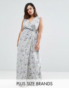Платье макси с запахом и цветочным принтом Koko Plus - Серый