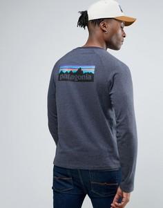 Темно-синий легкий свитшот с логотипом на спине Patagonia P-6 - Темно-синий