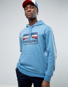 Голубой меланжевый худи с логотипом из легкой ткани Patagonia - Синий