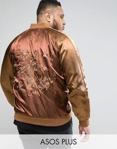 Куртка с вышивкой Phoenix ASOS PLUS - Коричневый
