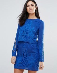 Кружевное платье-туника с длинными рукавами The Jetset Diaries - Синий