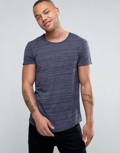 Длинная меланжевая футболка с карманом Esprit - Темно-синий