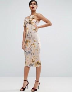 Платье миди на одно плечо с цветочным принтом ASOS - Мульти