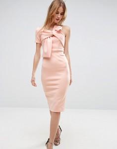 Платье миди на одно плечо ASOS - Розовый