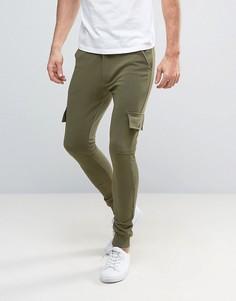 Трикотажные брюки скинни с карманами-карго Only & Sons - Зеленый