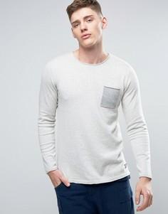 Трикотажный джемпер с необработанными краями и карманом Jack & Jones Originals - Белый
