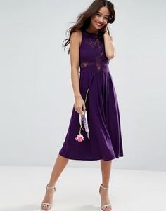 Плиссированное платье миди ASOS WEDDING - Фиолетовый