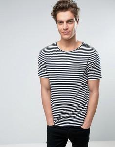Жаккардовая футболка в полоску D-Struct - Темно-синий