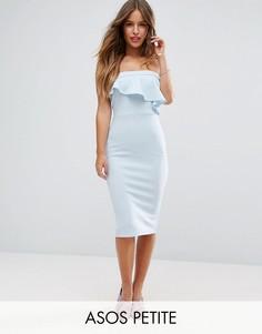 Фактурное платье-бандо миди с асимметричной оборкой ASOS PETITE - Синий